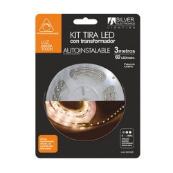 TIRA LED KIT SILVER 4,8W/m REGULABLE CON TRANSFORMADOR
