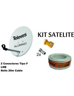 KIT ANTENA PARABOLICA ALUMINIO 63CM TELEVES + LNB + CABLE 20