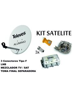 KIT ANTENA PARABOLICA ALUMINIO 63CM TELEVES+ MEZCLDOR+TOMA S