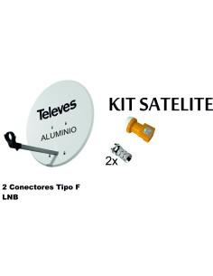KIT ANTENA PARABOLICA ALUMINIO 63CM TELEVES + LNB + CONECTOR
