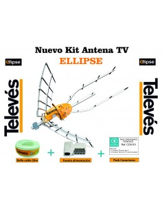 KIT ANTENA TELEVES 1489 + ROLLO 20M + CONECTORES TELEVES