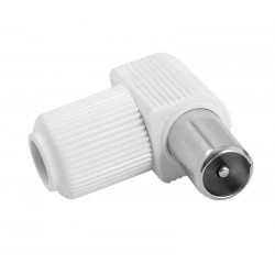 CONECTOR ANTENA TV HQ ACODADO BLANCO MACHO